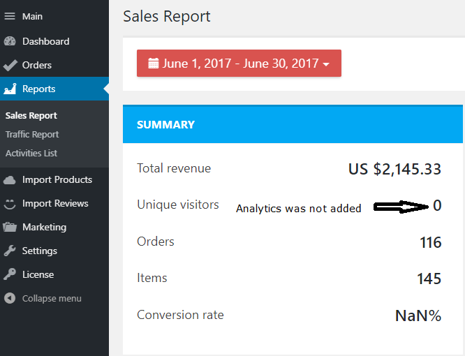 drop shipping sales report June