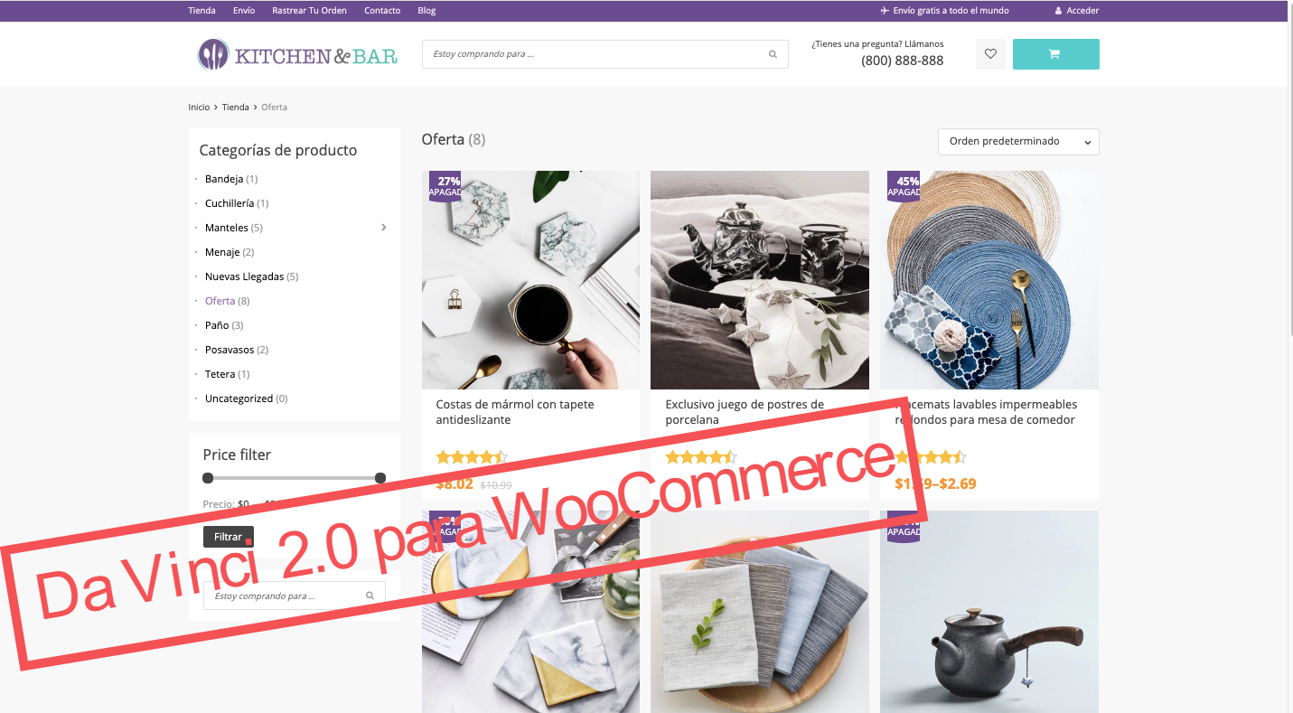 WooCommerce tema gratuito para negocios de dropshipping con Aliexpress - pagina de categoria